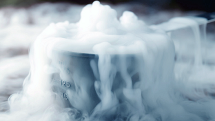 Dry Ice inside a metal container creating fog